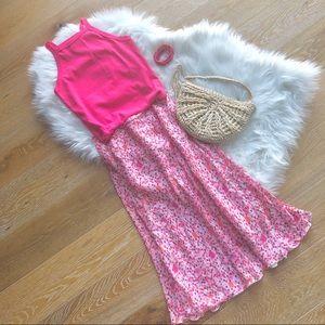 ZARA WOMAN bright dotted pink geometric midi skirt